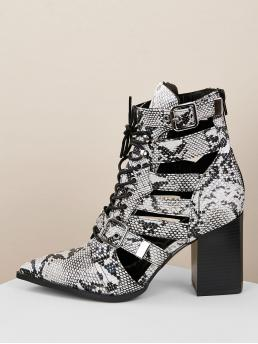 Glamorous Lace-up Boots Point Toe Snakeskin Print Back zipper Multicolor High Heel Chunky Snake Pointy Toe Strappy Cutout Lace Up Booties