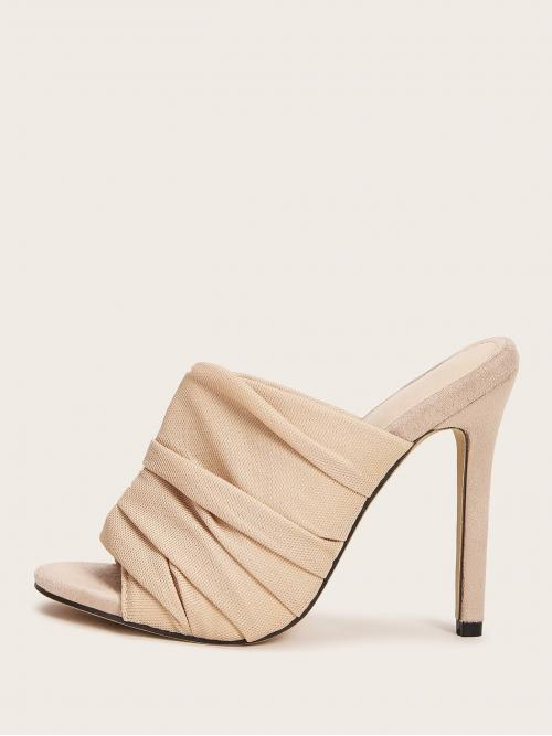 Glamorous Peep Toe Plain Apricot High Heel Stiletto Ruched Detail Stiletto Heeled Mules