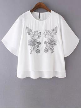 Print Short Round Fashion Loose Embroidered Round Neck Bat-Wing Sleeve T-Shirt