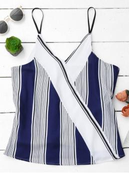 Standard Striped Spaghetti Regular Fashion Spaghetti Strap Tank Top With Stripe