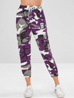 Fall and Spring Elastic Jogger Camo Regular High Fashion Camo Print Cargo Pockets Joggers Pants