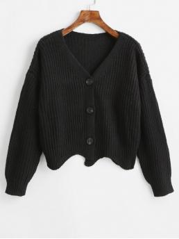Autumn and Spring Button Solid Elastic Full Drop V-Collar Short Regular Casual Daily Cardigans Chunky Knit Zigzag Hem Button Up Cardigan