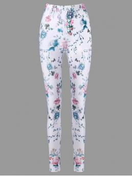 Elastic Pencil Floral Skinny High Casual High Waist Tiny Floral Pencil Pants