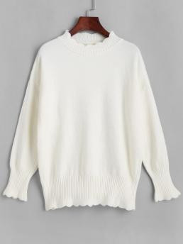 Full Sleeve Pullovers Polyacrylic Solid Mock Neck Sweater Beautiful
