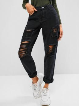 Trending now Black Normal Streetwear Spring Ripped Waisted Stovepipe Jeans