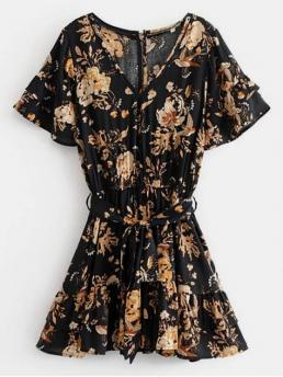 No Spring and Summer Floral Short V-Collar Mini A-Line Vacation Casual Belted Floral Print V Neck Dress
