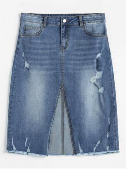 Fall and Spring and Summer Zipper Solid Pencil Knee-Length Daily and Going Vintage Slit Ripped Midi Denim Skirt