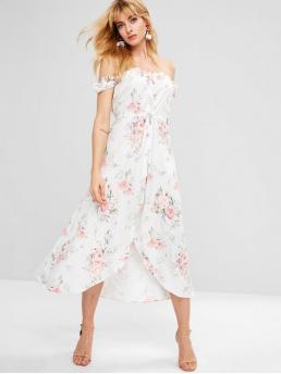 No Spring and Summer Floral Short Off Ankle-Length A-Line Beach and Casual and Vacation Bohemian Drawstring Floral Button Up Flowy Dress