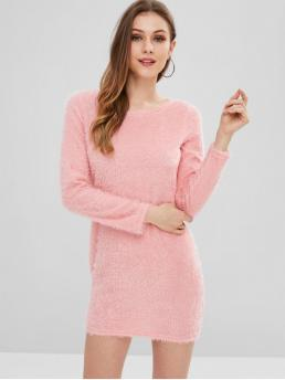 Fall and Spring No Solid Long Round Mini Fluffy Yarn Mini Sweater Dress