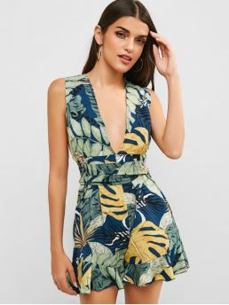 Summer No Ruffles Leaf Nonelastic Sleeveless Plunging Mini Regular Fashion Daily and Going Criss Cross Ruffles Palm Leaves Romper