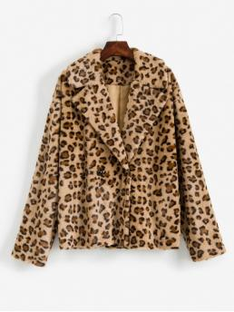 Autumn and Spring and Winter Animal Double Lapel Drop Full Regular Wide-waisted Fur Daily Casual Leopard Print Drop Shoulder Fuzzy Teddy Coat
