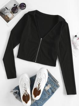 Full Sleeve Cardigans Polyester Solid Ribbed Zip Front Cardigan Fashion