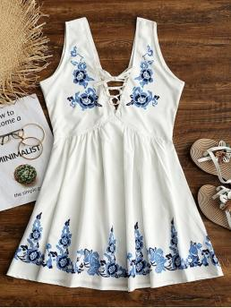 Summer No Floral Lace Sleeveless Plunging Mini Floral Print Lace Up Sleeveless Flare Dress