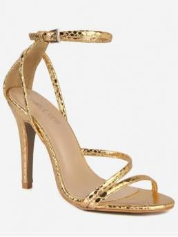 PU 10CM Rubber Animal Buckle Stiletto Ankle Party Fashion For Snake Cut High Heel Sandals