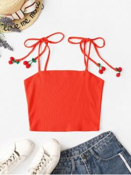 Autumn and Summer Elastic Standard Tie Others Spaghetti Short Fashion Tie Shoulder Baubles Ribbed Cami Top