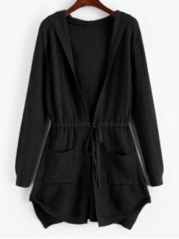 Autumn and Spring and Winter Pockets Solid Elastic Full Hooded Long Regular Fashion Daily and Going Cardigans Longline Hooded Drawstring Pockets Cardigan