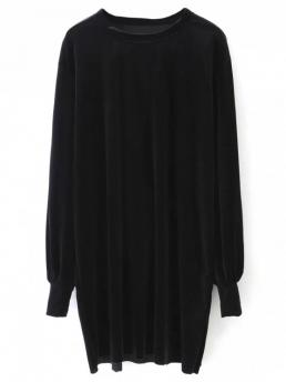 Fall and Spring No Solid Long Round Mini Straight Casual Long Sleeve Velvet Straight Dress