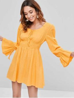Fall and Spring No Solid Long Scoop A-Line Mini Day and Going Casual Smocked Long Sleeve Mini A Line Dress
