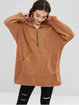 Autumn and Spring and Winter Front Solid Elastic Full Long Hooded Hoodie Faux Shearling Half-zip Oversized Hoodie