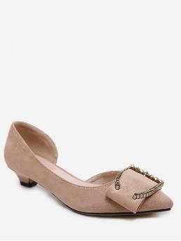 3cm Spring/Fall Corduroy TPR Dress Kitten Pointed Closed Basic OL Pointy Metal Buckle Decorated Low Pumps