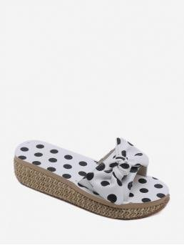 Summer Synthetic 4CM TPR Dot Slip-On Platform Slides Casual and Daily Fashion For Bow Polka Dot Flatform Slides