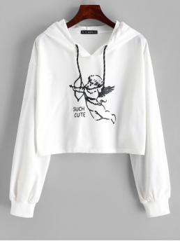 Autumn and Spring Letter Full Short Drop Hoodie Cupid Graphic Drawstring Cropped Hoodie