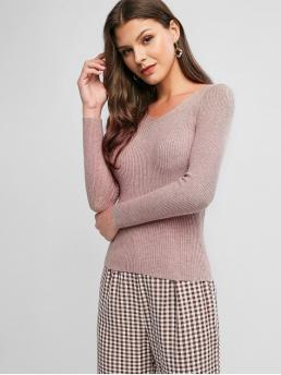 Autumn and Spring and Winter Solid Elastic Full V-Collar Regular Slim Fashion Daily Pullovers Pullover Slim V Neck Sweater