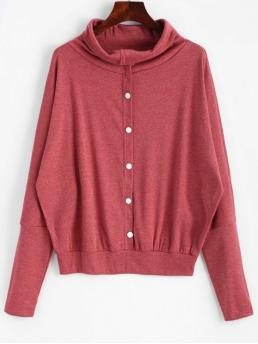 Full High Casual Pullovers Button Embellished Dolman Sleeve Knitted Top