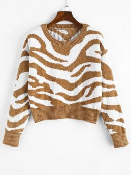 Full Sleeve Pullovers Cotton,polyester Animal Crew Neck Graphic Chenille Sweater Clearance