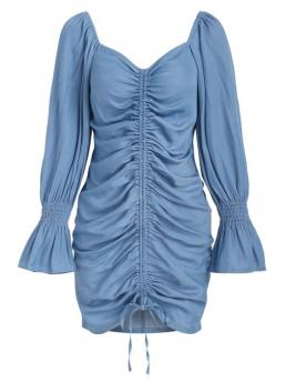 Light Blue Solid Poet Sleeve Long Sleeves Cinched Front Chambray Dress Pretty