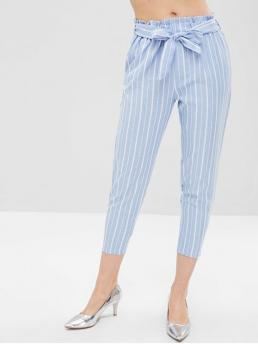 Fall and Spring No Elastic Jogger Ninth Striped Tapered Mid Fashion Stripe Belted Capri Pants