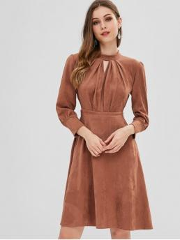 No Fall and Spring and Winter Elastic Solid Hollow Long Mock Knee-Length A-Line Day and Work Elegant Pleated Keyhole Suede Dress