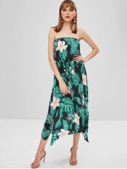 No Spring Floral and Leaf Sleeveless Strapless Mid-Calf A-Line Casual and Vacation Casual Flower Palm Bandeau Slit Dress