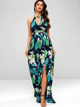No Fall and Spring Tropical Sleeveless Mock Ankle-Length A-Line Beach and Holiday and Vacation Brief Palm Leaf Print Maxi Vacation Dress