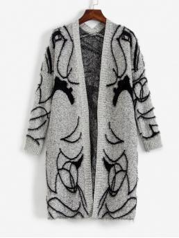 Autumn Pockets Figure Nonelastic Full Collarless Long Loose Casual Daily Cardigans Faux Fur Abstract Cardigan