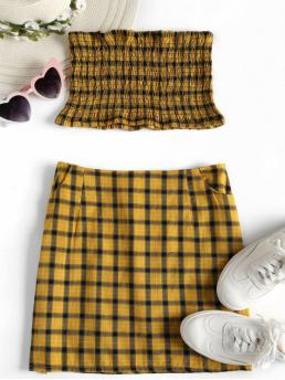 Summer Checkered Flat Zipper High Sleeveless Strapless Pencil Streetwear Daily and Going Tartan Smocked Bandeau Top Skirt Matching Set