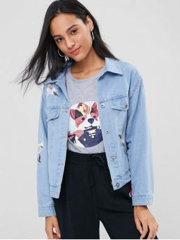 Embroidery Floral Shirt Full Wide-waisted Casual Jackets Floral Embroidered Buttoned Denim Jacket