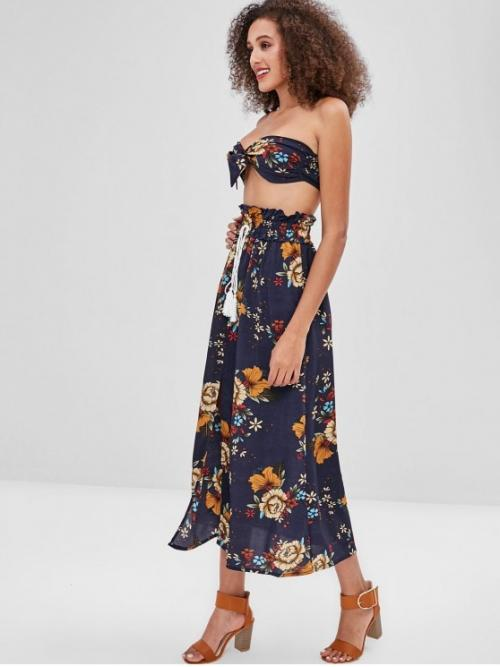 Fall and Spring and Summer Floral Pleated Drawstring High Sleeveless Strapless A Fashion Beach Floral Bandeau Top Skirt Two Piece Set
