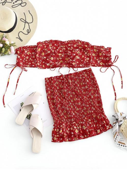 No Summer Ruffles Floral Flat Elastic High Short Off Bodycon Fashion Beach Floral Smocked Ruffle Skirt Set