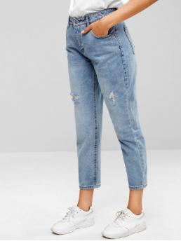 Spring Pocket and Ripped Zipper Regular Normal Light Streetwear Distressed Five Pockets Jeans