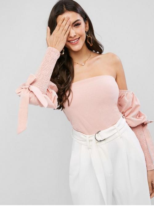 Autumn and Spring Tie Solid Full Short Strapless Sexy Daily and Outdoor Smocked Bandeau Tied Gigot Sleeve Crop Blouse