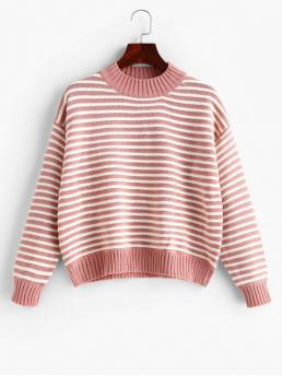 Autumn and Winter Striped Elastic Full Drop Mock Regular Regular Fashion Daily Pullovers Striped Mock Neck Drop Shoulder Textured Sweater