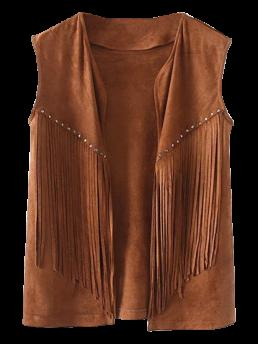 Standard Others Collarless Regular Fringe Faux Suede Open Front Waistcoat