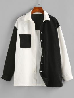 Sale Full Sleeve Wide-waisted Polyester Others Corduroy Two Tone Pocket Shirt Jacket