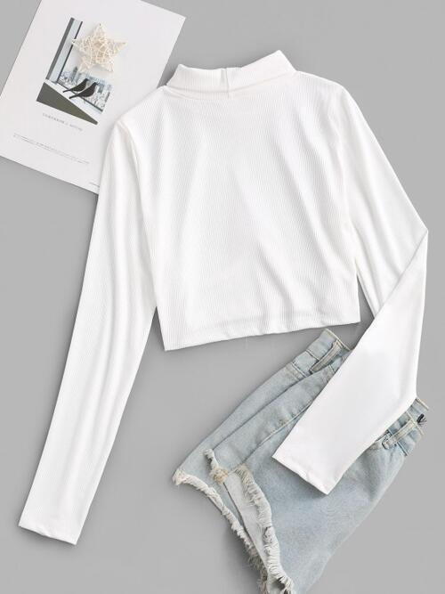 Discount Full Sleeve Polyester Solid Color White Ribbed Corset Style Turtleneck Tee
