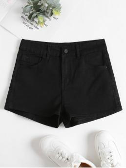 Summer Pockets Solid Flat Zipper High Regular Fashion Denim High Waisted Shorts