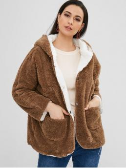 Winter Pockets Solid Hooded Raglan Full Regular Wide-waisted Daily and Going Fashion Fluffy Hooded Raglan Sleeve Coat