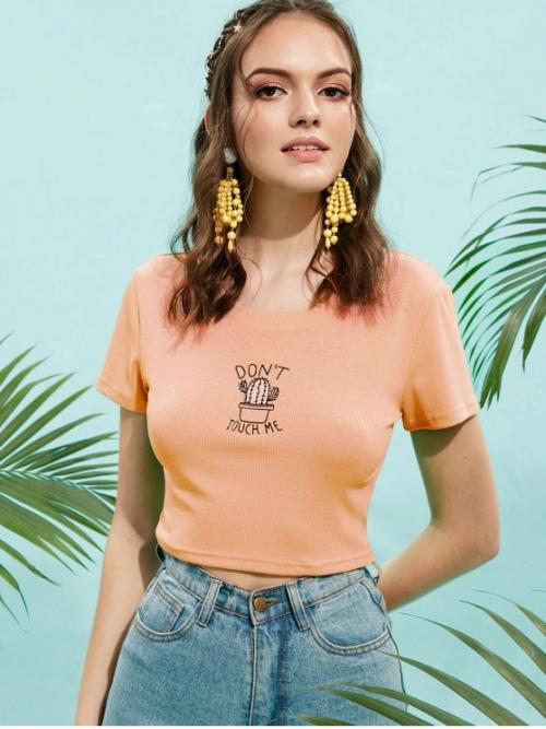 Summer Cactus and Letter Embroidery Elastic Short Round Short Fashion Cactus Embroidered Ribbed Crop Tee
