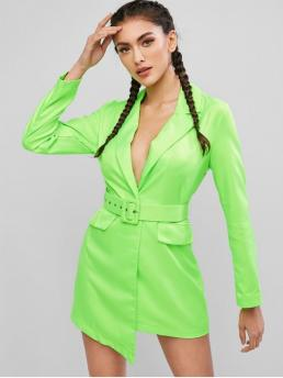 Yes Fall Solid Long Lapel Mini Asymmetrical Night Sexy Neon Belted One Button Blazer Dress