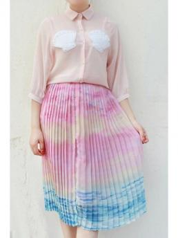 No Pleated Print A-Line Knee-Length Ombre Color High Neck Chiffon Skirt